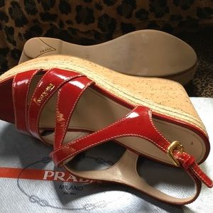 Prada Shoes - Red patent leather wedge sandals